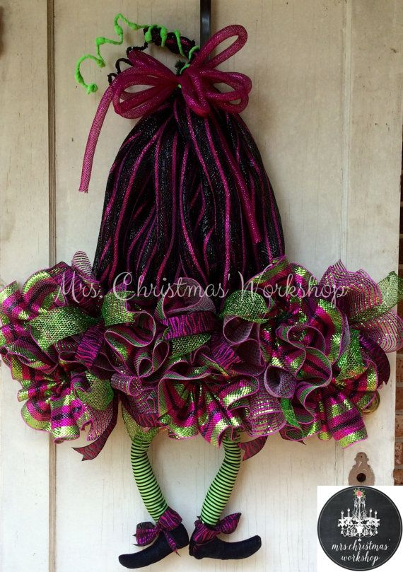 Halloween Wreath Deco Mesh Witch Hat By