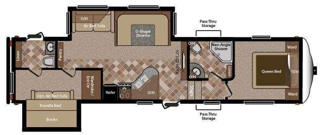 5th wheel rv 2 bathrooms floor plans   RV Sprinter Copper Canyon 292FWBHS Fifth Wheels at