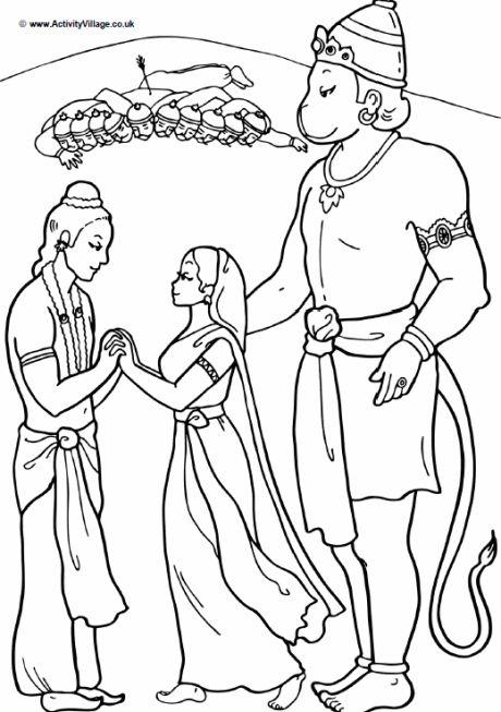 Hanuman colouring page; Hanuman helps Rama to rescue Sita