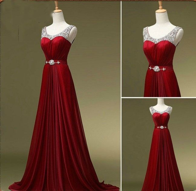 Red Scoop Neck Beads Long Prom Formal Evening Pageant Gown Wedding Party Dress #Formal