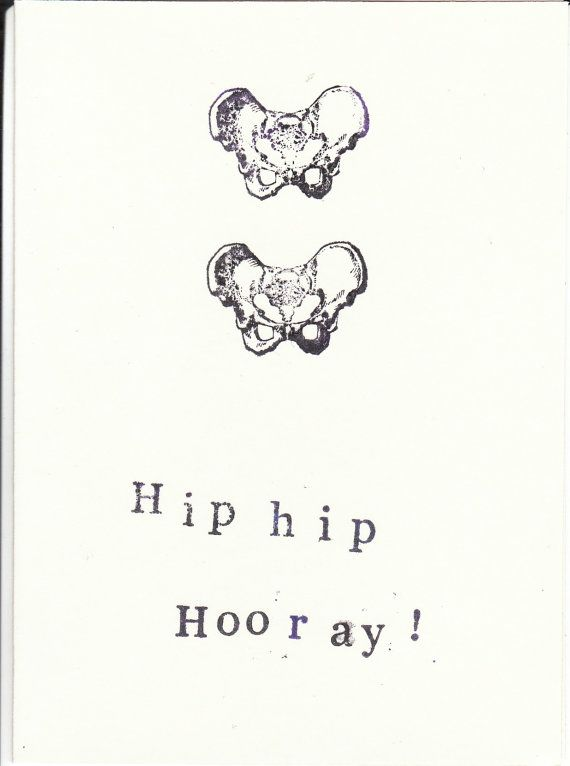 Skeleton Anatomy Greeting Card Hip Hip Hooray