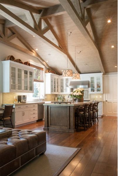 open kitchen with ceiling beams Best 20+ Vaulted ceiling kitchen ideas on Pinterest   Vaulted ceiling lighting, High ceilings