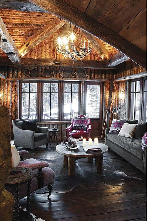 Moose Shed filled with pinecones on coffee table  Rustic Modern Interiors  Pinterest