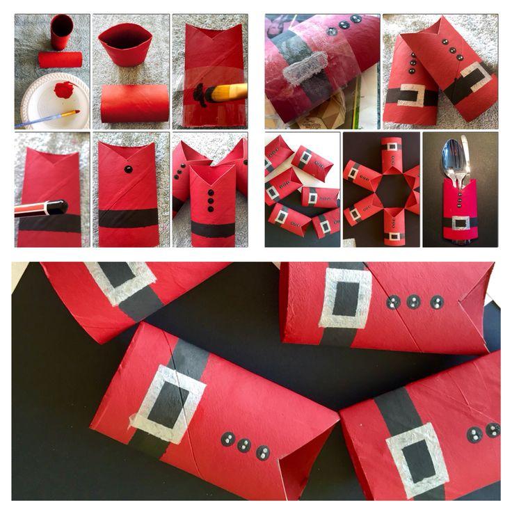 Diy Christmas Cutlerynapkin Holders Christmas Craft