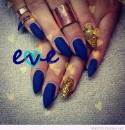 matte blue nails and yellow glitter