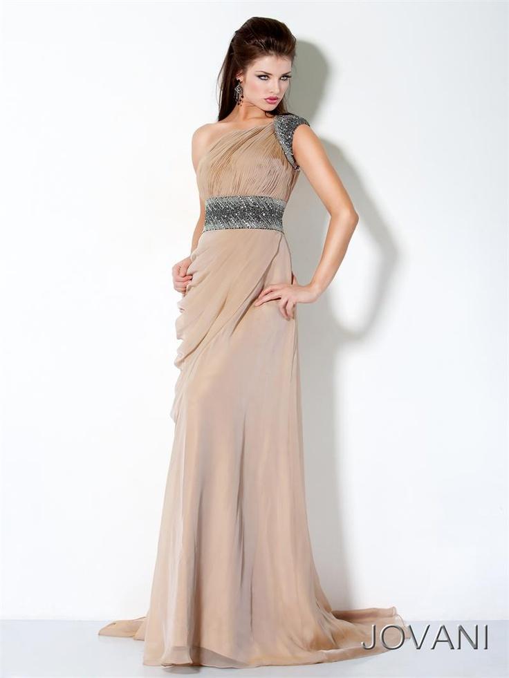 Jovani Greek Goddess one shoulder sheath prom dress