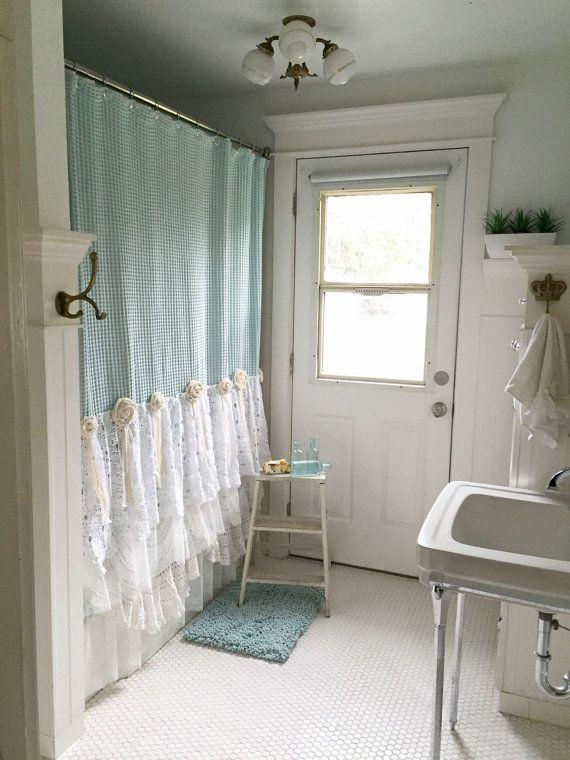 Shabby Chic Shower Curtain Aqua Blue Lace Ruffle by FarmHouseFare  Etsy Finds  Pinterest