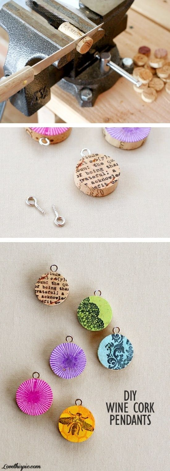 DIY cork screw pendants, Make your own Jewelry from recycled corks , great teen