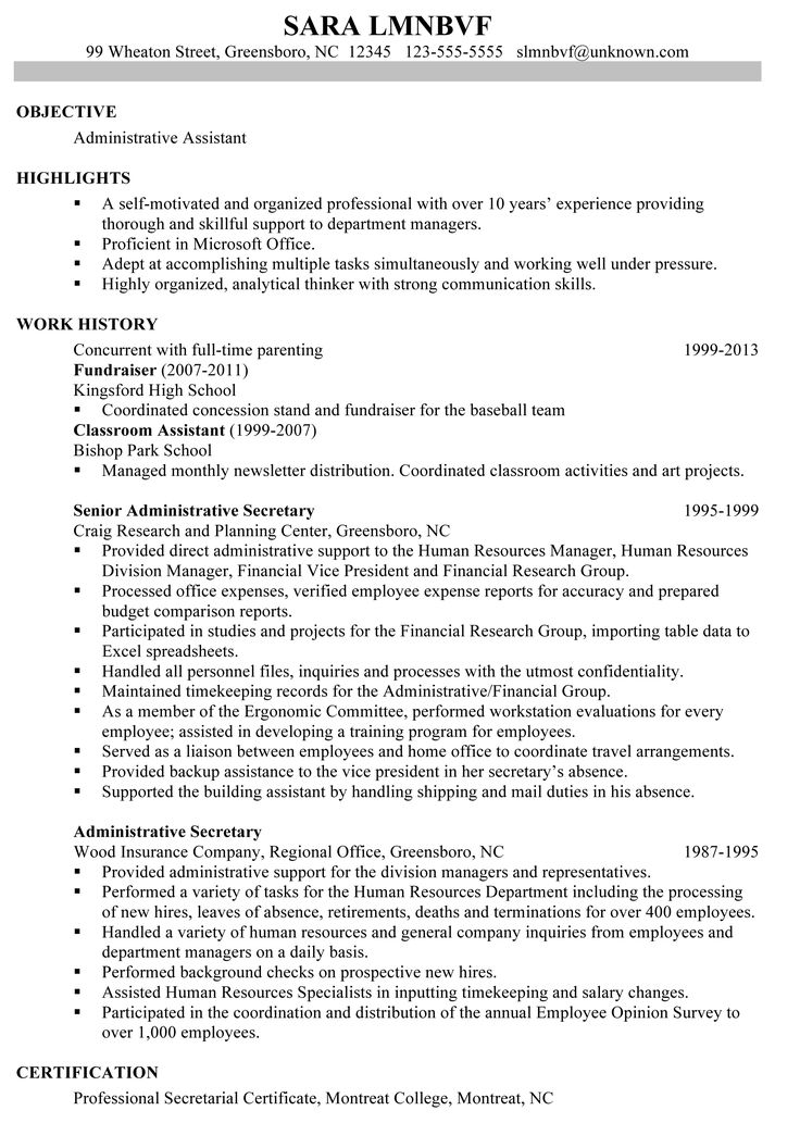 sample resume for administrative assistant in education