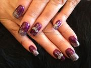 burgundy nails with silver glitter