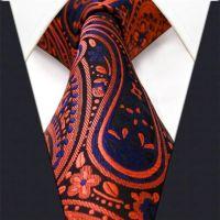 G18 Paisley Orange Navy Mens Neckties Ties 100% Silk ...