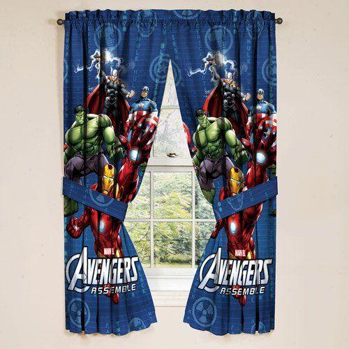 Marvel Avengers Assemble Window Panels Curtains Drapes Set of 2  Kids Super Hero Bedroom Decor