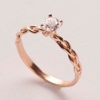 Braided Engagement Ring No.2 - 14K Rose Gold and Diamond ...