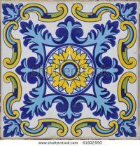 Authentic Mediterranean Ceramic Tile Square Stock Photo ...
