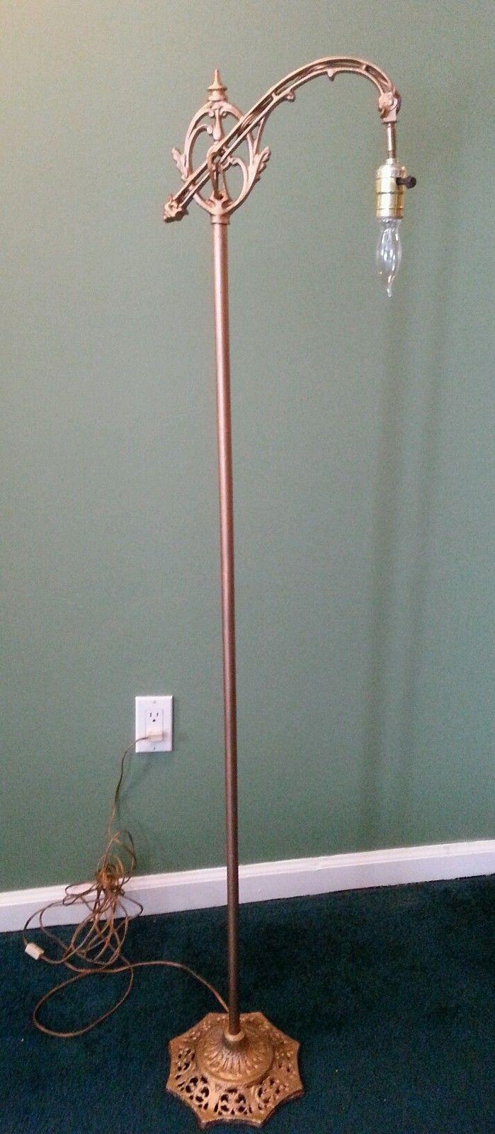 Antique Cast Iron Floor Lamp Bridge Lamp Ornate Arm