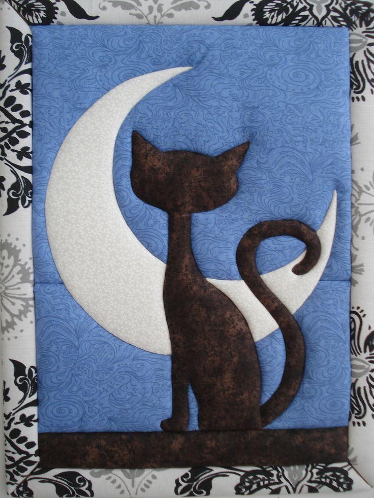 Gato Mirando A La Luna Falso Patchwork Manualidades