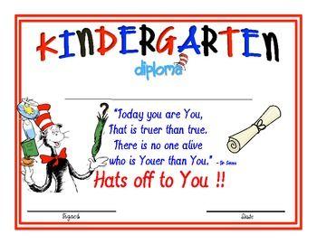 Cat In The Hat Kindergarten Diplomas Dr Seuss Ideas