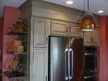 kitchen redo cabinet hardware hinges blend the soffits in with crown molding and paint ...