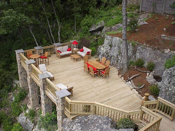Deck Idea With Sloped Yard  Exterior Pinterest