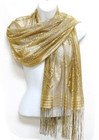 Womens Gold Sequin Metallic Sheer Lace Shawl | Lace, Shawl ...