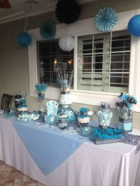 Blue black and white baby shower candy table :) | Baby ...
