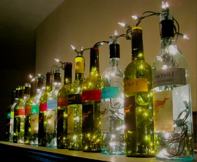 wine bottle lights. these are perfe
