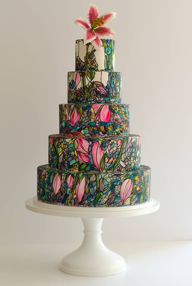 Maggie Austin hand painted  stained glass style wedding cake  Beautiful Cakes  Pinterest