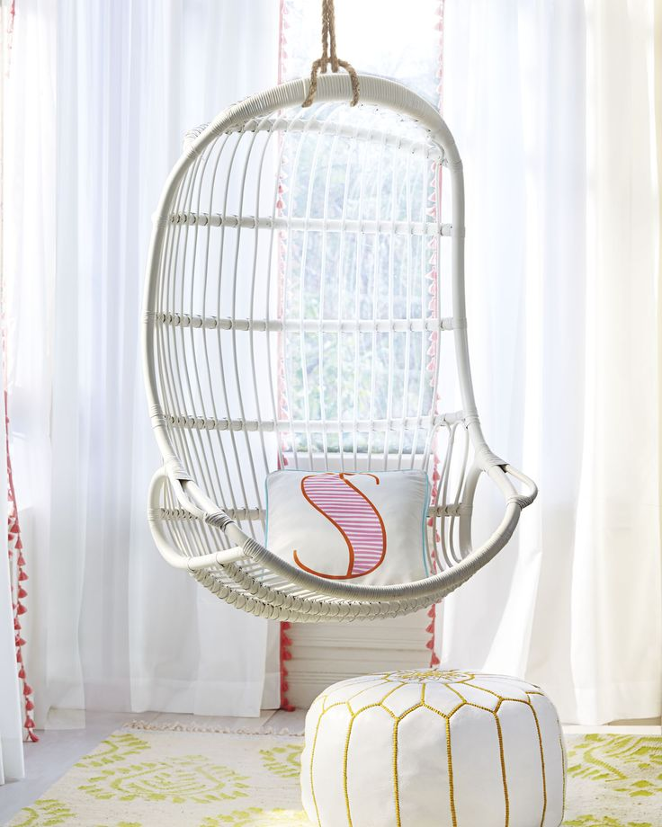 teal chair cushions behind the show 2019 hanging rattan ($450-) for sj room with pink accents by serena & lily | nantucket house ...