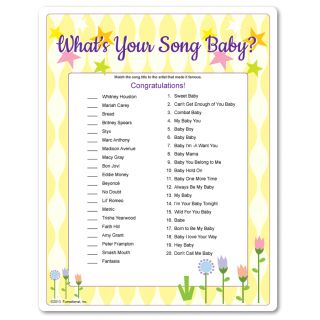 Whats Your Song Baby Baby Shower Game Matching Songs