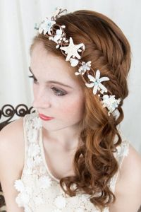 Seashell hairpiece, starfish hair accessories, bridal