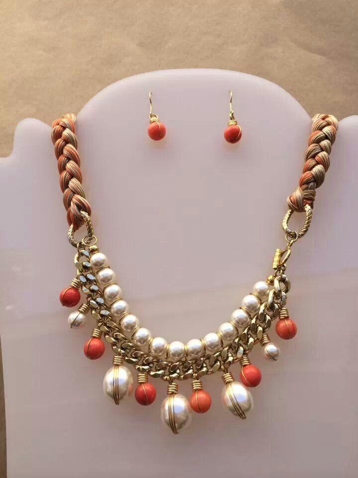 Collar perlas y piedras con trenza hilos  Collares  Pinterest  Collars and Ideas