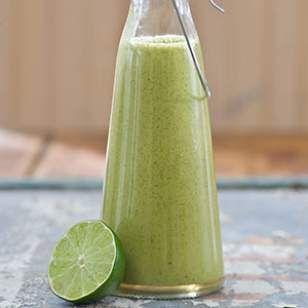 Spicy Cilantro Vinaigrette   Recipe      1 cup cilantro     1/2 cup canola oil     1/2 cup lime juice     2 small cloves garlic