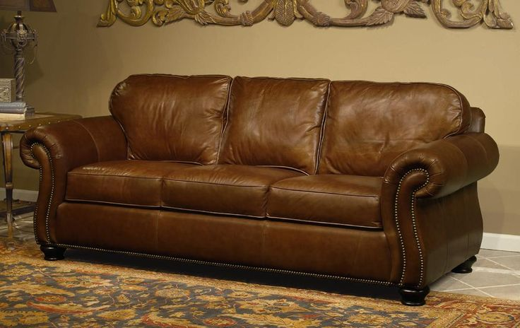 rustic leather sofa set alessia review vincent sleeper by bernhardt-leather shown is ...