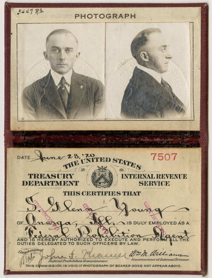 Identification Card for Prohibition Agent S Glenn Young 6281920 File Unit 7507 S Glenn