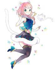 anime girl. .pink hair. .cat ears