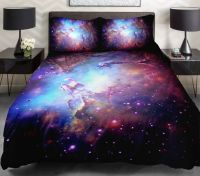 3D Duvet Cover Printing Galaxy on blue Sheets and Outer ...