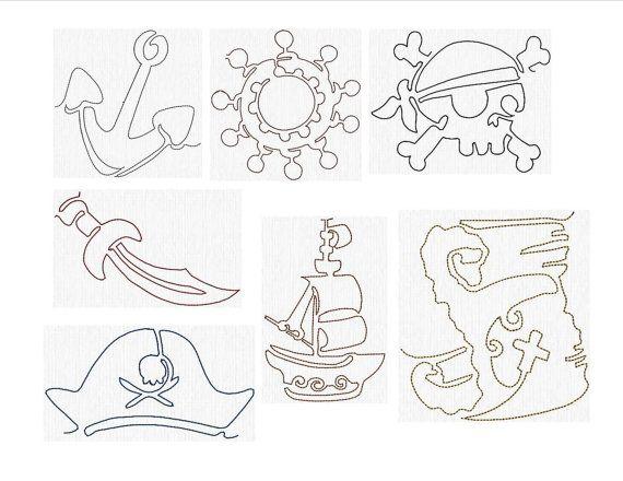 Instant Download Machine Embroidery Designs Redwork Pirate
