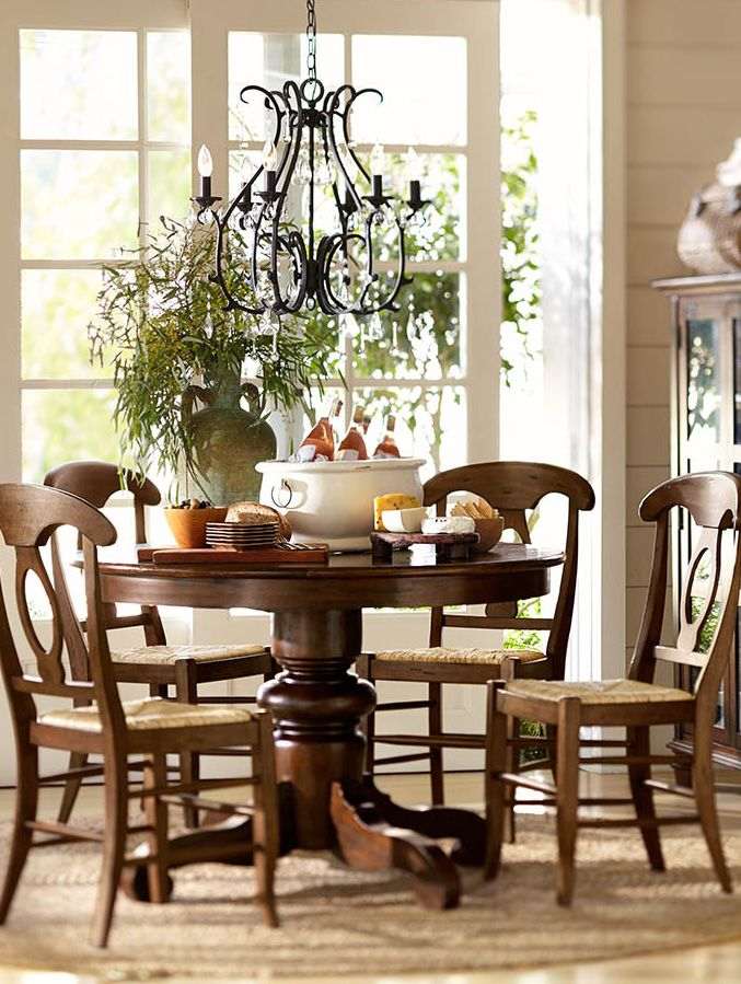 Gather around the table potterybarn  Dining Rooms  Pinterest  Table and chairs Pedestal