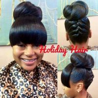 Cute Updo with bangs | Curls, Buns, Braids, Bobs, Knots ...