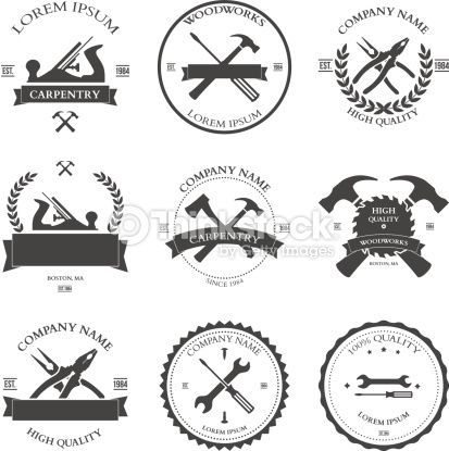 Vector Art : Carpentry tools. labels and design elements