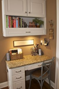 Corner kitchen desk. Pull out drawer in top cabinet would ...
