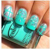 silver metallic & turquoise nail
