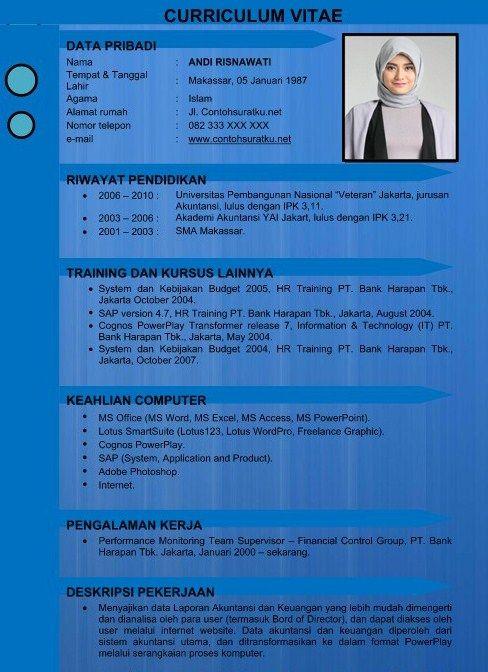 Contoh CV Kreatif Menarik Baik Resmi Dan Benar Dalam
