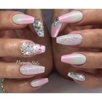 White and pink ombr coffin nails summer 2016 ...