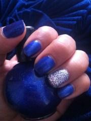 royal blue & silver nails nail