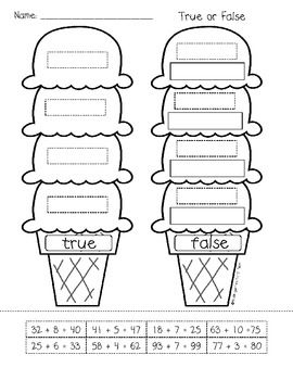 First Grade: Ice Cream Addition and Subtraction File