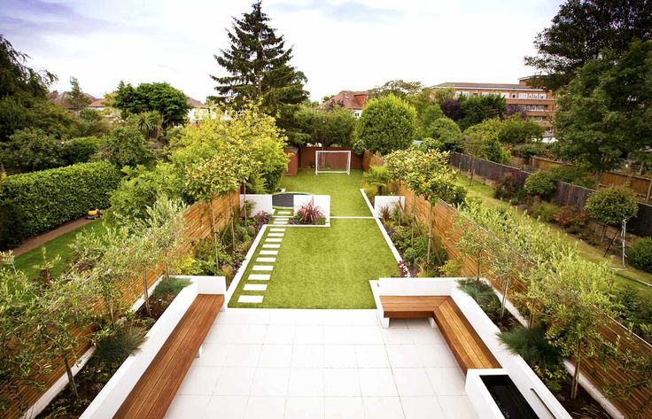 Family Garden Divided Into Three Areas With Children's Play Area