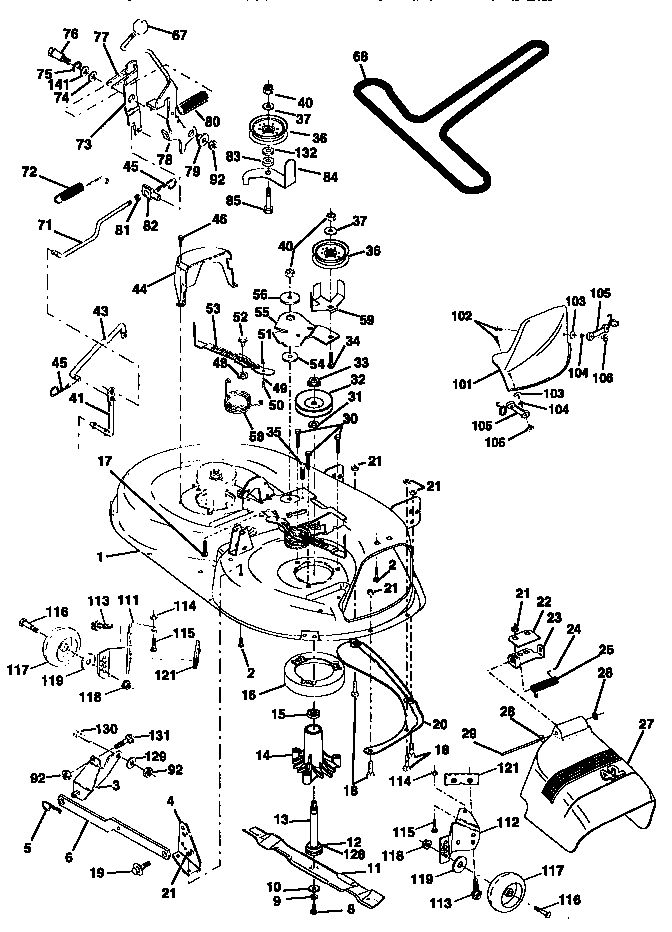 MOWER DECK Diagram & Parts List for Model 917270810 Craftsman-Parts Riding-Mower-Tractor-Parts
