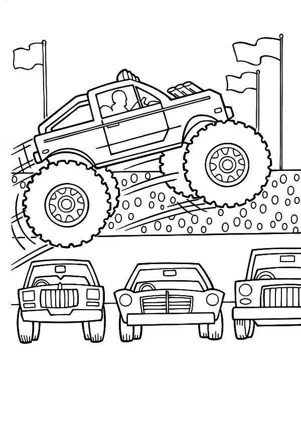 Monster Truck, : Monster Truck Jumps Over Cars Coloring
