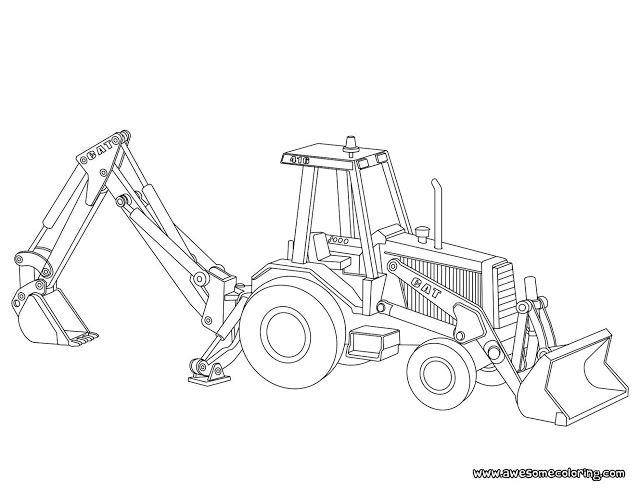 Awesome Caterpillar backhoe loader coloring page ready to